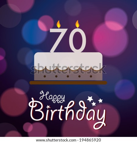 Happy 70th Birthday Bokeh Vector Background Stock Royalty
