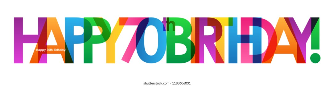 HAPPY 70th BIRTHDAY colorful letters banner