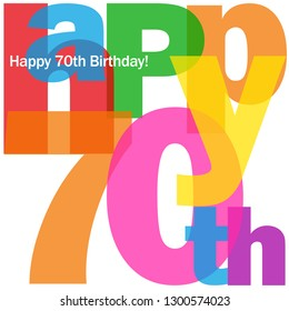 HAPPY 70th BIRTHDAY colorful typography card