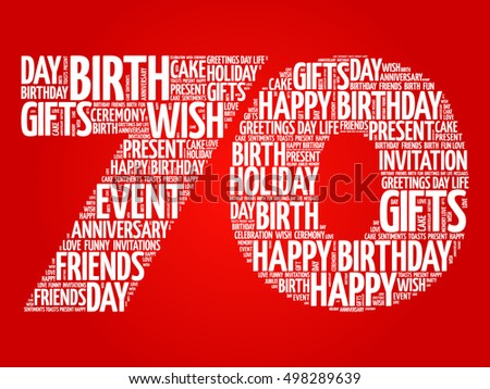 Happy 70th Birthday Word Cloud Collage Concept