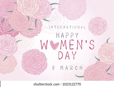 Happy 8 March International Womens day design of pink carnation flowers vector illustration