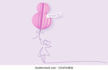 Happy 8 March womens day card. Woman with air balloon shaped as big eight. Vector paper art illustration. Continuous one line style.