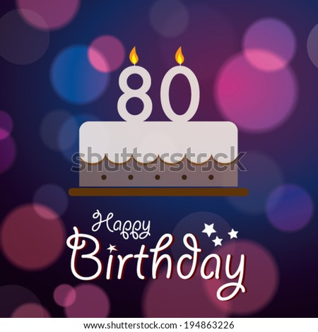 Happy 80th Birthday Bokeh Vector Background Stock Royalty