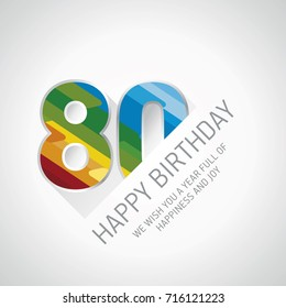 Happy 80th Birthday color design greeting card