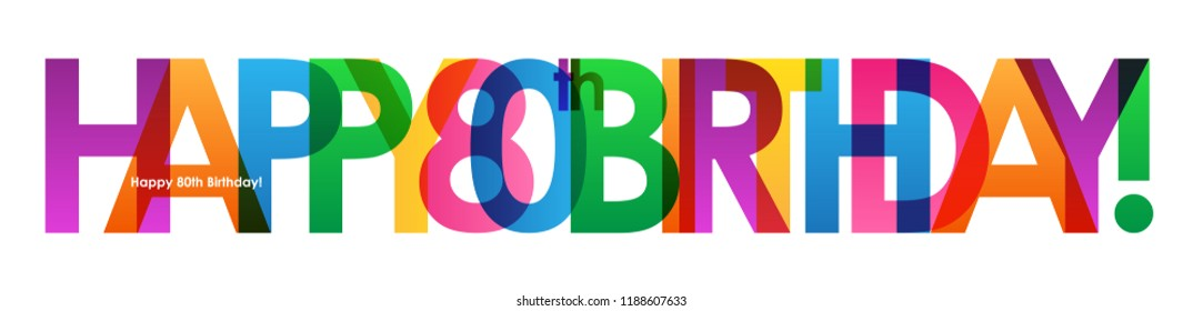 HAPPY 80th BIRTHDAY colorful letters banner