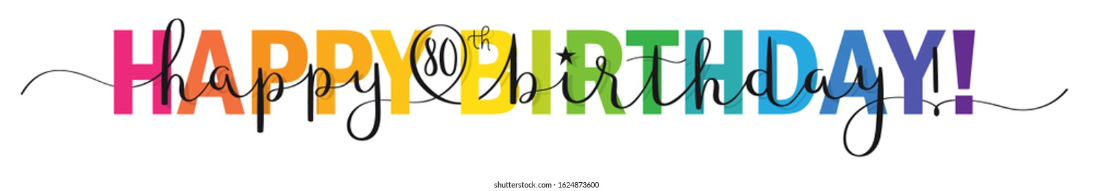 HAPPY 80th BIRTHDAY! colorful vector mixed typography banner with brush calligraphy