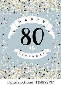Happy 80th Birthday Vector Illustration. Delicate Tiny Confetti on a Light Pale Blue Background. White Ribbon with Black Letters. Cute Birthday Card. Round Shape confetti Rain.