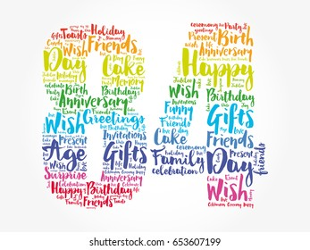 Happy 84th birthday word cloud collage concept
