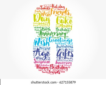 Happy 8th birthday word cloud collage concept