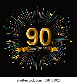 Happy 90th Anniversary. with fireworks and star on dark background.Greeting card, banner, poster