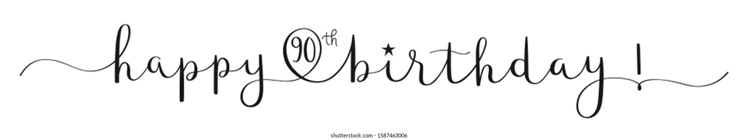 HAPPY 90th BIRTHDAY! black vector brush calligraphy banner