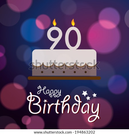 Happy 90th Birthday Bokeh Vector Background Stock Royalty
