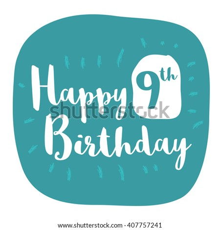 Happy 9th Birthday Card Brush Lettering Vector Design