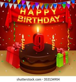 Happy 9th Birthday with chocolate cream cake and triangular flag