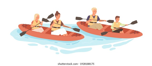 Happy active family with kids rafting on kayak or canoe along river in summer. Parents and children rowing with paddles in boats together. Flat vector illustration isolated on white background
