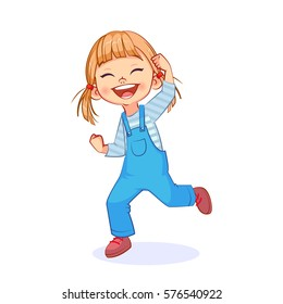 Happy active girl smiling from ear to ear, winner hand gesture, cutout vector art.
