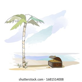 Happy adventure for the treasure. Robinson tour. Island and palm. The dream and the tourism. Island and palm for great vocation. Illustration for a book, map, poster, game and background. Color book.