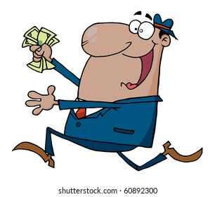 Happy African American Businessman Running With Dollars In Hand