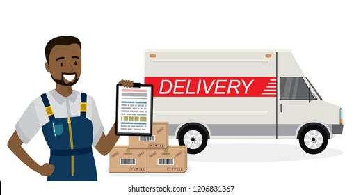 Happy african american deliveryman,delivery truck and carton boxes,male in uniform and transport isolated on white background,flat vector illustration