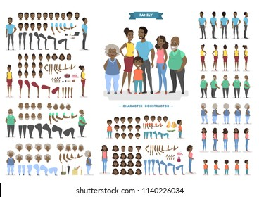 Happy african american family character set for animation with various views, hairstyles, face emotions, poses and gestures. Front, side and back view. Isolated vector illustration in cartoon style