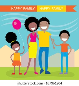 Happy African American family of four members: parents,their son and daughter. Lovely cartoon characters on nature sunny summer day background.Vector illustration