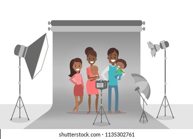 Happy african american family making photoshoot on the grey background. Parents and children standing together. Various equipment such as softbox and camera. Isolated flat vector illustration