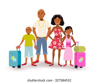 Happy african american family with parents and children travel summer vacation together, people group in flat art style. EPS10 vector.