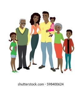 Happy African American family- parents,their son and daughters, and grandparents. Cartoon Vector illustration isolated on white background