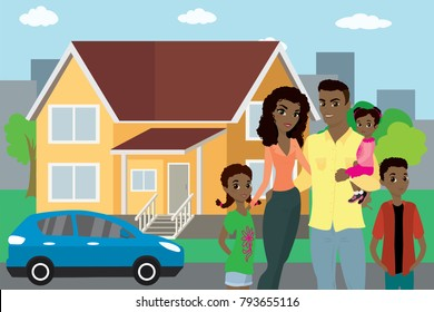 Happy african american family,big house and modern car in the background,flat vector illustration