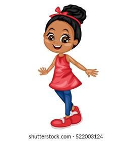 Happy African American Girl Cartoon Illustration