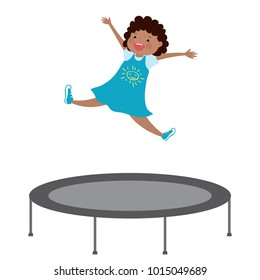 happy african american girl jumping on a trampoline,enjoying schoolgirl,isolated on white background,cartoon vector illustration