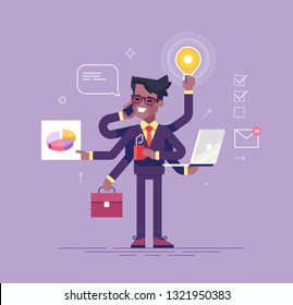 Happy african american office worker with many hands doing several actions at the same time. Multitasking, productivity and time management concept. Flat vector illustration.