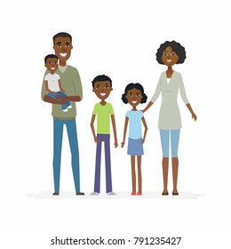 Happy African family - cartoon people characters isolated illustration on white background. Smiling young parents standing with three children and hugging them