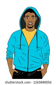 Happy African man in hoodie isolated on the white background. Advertising poster in the Pop art style. Vector illustration