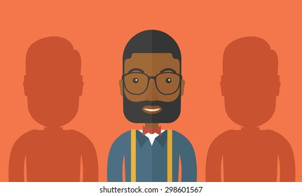 A happy african-american businessman with his two shadows. A Contemporary style with pastel palette, orange tinted background. Vector flat design illustration. Horizontal layout.