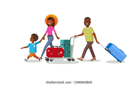 Happy African-American Family Summer Vacation Travel Cartoon Vector Concept. Father Pushing Baggage Cart, Mother Walking with Son Illustration Isolated on White Background. Tourists Carrying Luggage