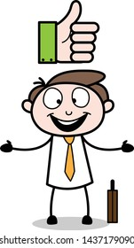 Happy After Getting Likes - Office Businessman Employee Cartoon Vector Illustration