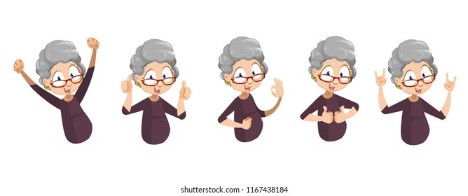 Happy aged lady showing different gestures. Positive elderly woman doing thumb up, ok, hello and rock hands gestures. Funny granny animation set. Old lady emotion activity vector illustration.