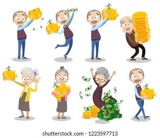 Happy aged people with money. Rich elderly people holding gold piggy banks. Grandparents celebrating financial success. Old people saving pension money. Lottery winner personages vector illustration