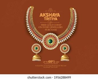 Happy Akshay Tritiya celebration, Pot, gold, coconut and mango leaves, lotus flower, gold jewellery symbol of prosperity