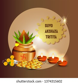 Happy Akshay Tritiya with gold jewellery, religious festival of India celebration - Vector