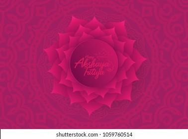Happy Akshaya Tritiya Background with Decorative Flower Ornament Vector Illustration