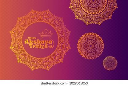 Happy Akshaya Tritiya Background Template Design with Beautiful Floral Ornament