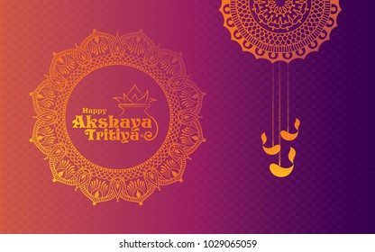 Happy Akshaya Tritiya Background Template Design with Beautiful Floral Ornament