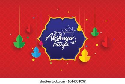 Happy Akshaya Tritiya Festival Background with Lamps - Indian Religious Festival Akshaya Tritiya Background Template
