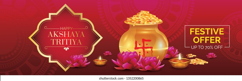 Happy Akshaya Tritiya Festival Sale, Offer Banner Design Vector Illustration