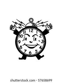 Happy Alarm Clock - Retro Clip Art
