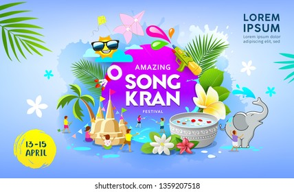 Happy Amazing Songkran festival summer of Thailand vector on blue banner background, illustration