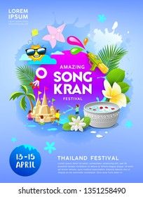 Happy Amazing Songkran festival thailand on blue poster background, vector illustration