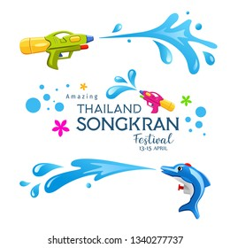 Happy Amazing Songkran Thailand festival colorful gun and Water Splash collections design, vector illustration